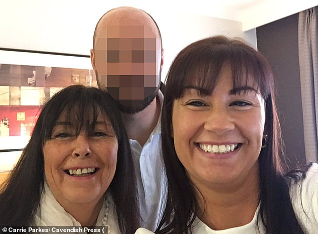 A virtually empty one litre bottle of Gordon's Pink Gin and empty bottles of vodka were found near the seats of mother and daughter Carrie and Karin Parkes on the flight (pictured, Carrie Parkes with mother Karin, left)
