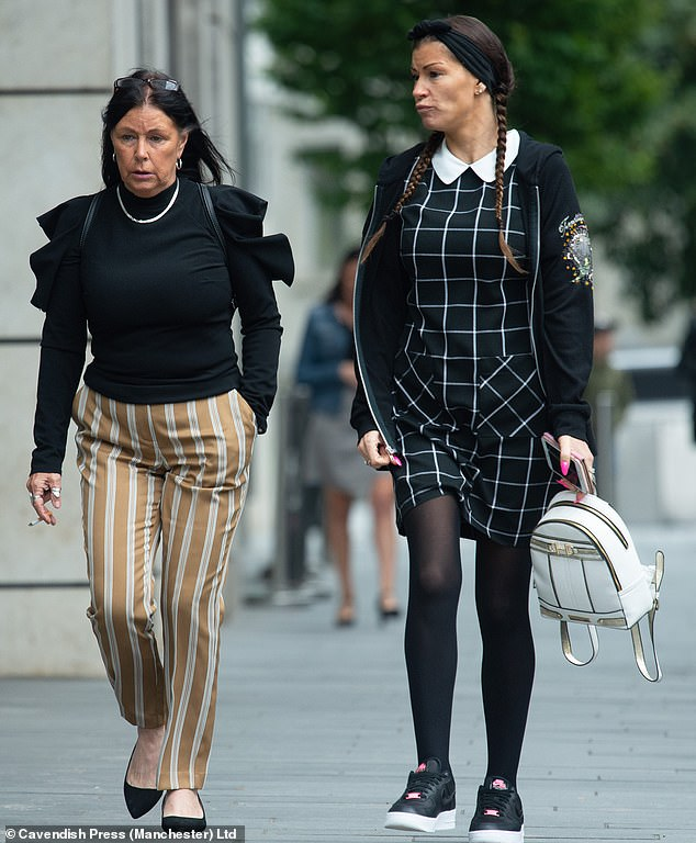 At Manchester magistrates court Karin Parkes, 56, (left, outside court) and former civil servant Carrie Parkes, 34, (right, outside court) were convicted of being drunk on an aircraft after a district judge condemned them over the 'horrific and chaotic' atmosphere on the plane