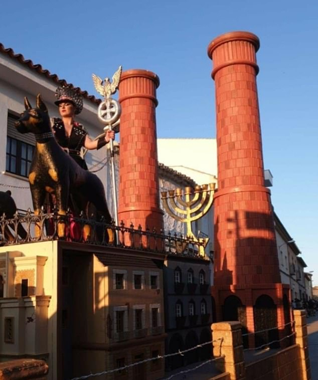 A float at the parade featured a Hebrew menorah lamp between two crematorium chimneys