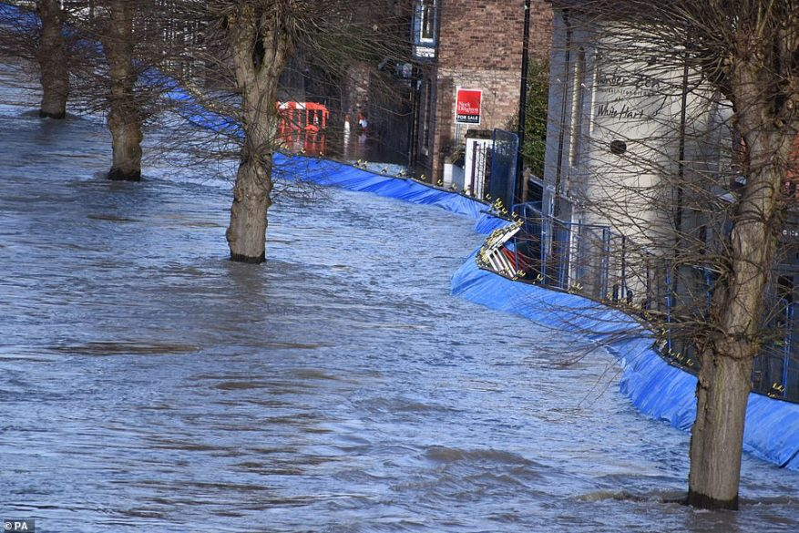 Flood barriers which have moved due to the weight of water in the River Severn in the Wharfage area of Ironbridge today