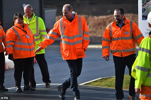 The father-of-three (pictured) looked in high spirits as he visited Tarmac - the UK's leading sustainable building materials and construction solutions business