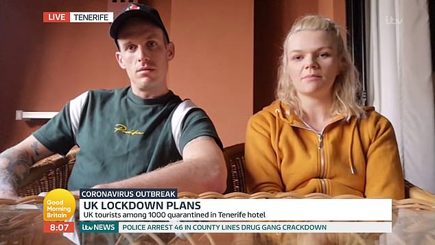 One British couple, Hannah Green and her boyfriend Court Amys, who are in Spain with their one-year-old son, said the lockdown had been 'pretty rough'