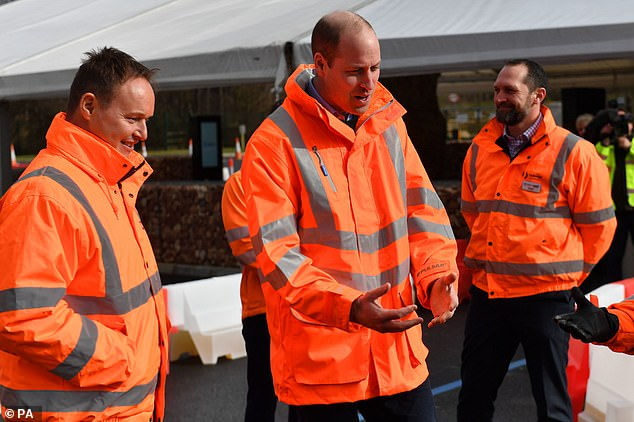 The royal was keen to get stuck in as he was given a tour around the construction site earlier today