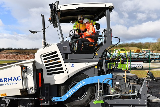 The Duke of Cambridge was given a lesson on how to operate an asphalt paver during his visit to the Tarmac National Skills and Safety Park today