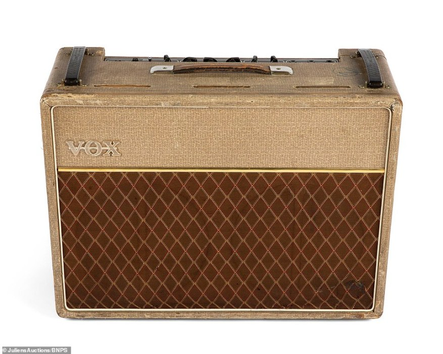 Pictured: The 1962 VOX 'Normal' model amplifier used by Bill Wyman at his audition for the Rolling Stones. It was used regularly in the Stones' early days and Richards later admitted it played a part in Wyman joining the group