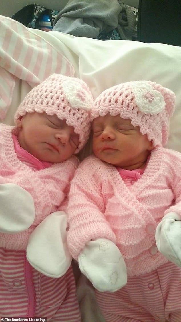 Ava and Ella (pictured) were born eight weeks early on February 14, the day of their older sister's birthday