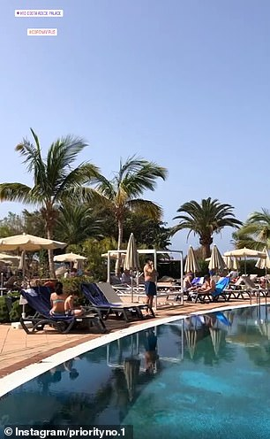 Guestsat the hotel poolside today after learning they would be staying well into March