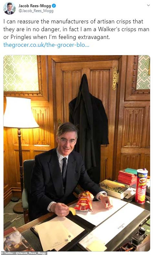 Jacob Rees-Mogg today sparked a fresh Twitter row about which products Tory MPs use as he tweeted a picture of himself enjoying a bag of Walkers crisps