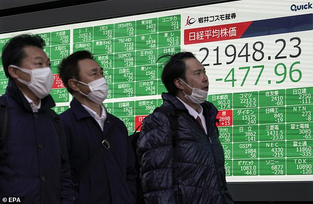 Pedestrians walk past a board showing data at Tokyo's Nikkei Stock Average in Japan yesterday