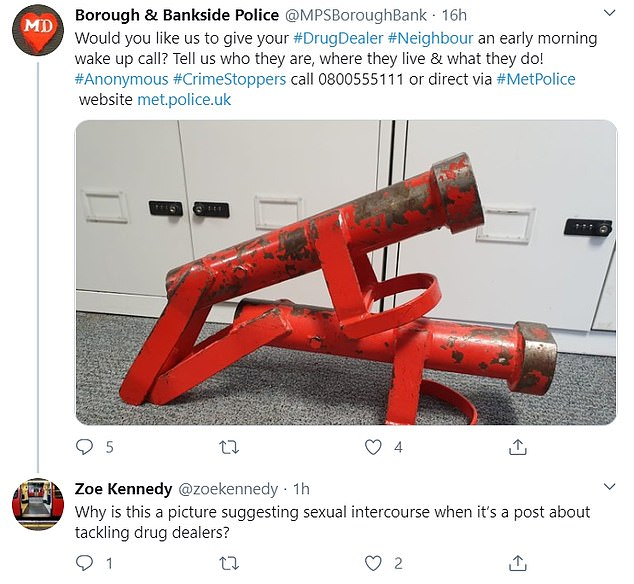 Thesafer neighbourhoods team for Borough and Bankside posted the image of two battering ramsin an appeal to catch drug dealers. The image has since been deleted