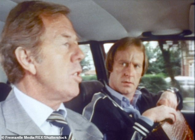 Medwin as Barry (pictured left) and Dennis Waterman, right, as Terry McCann in the British comedy-drama series 'Minder', which ran for 10 series between 1979 and 1994