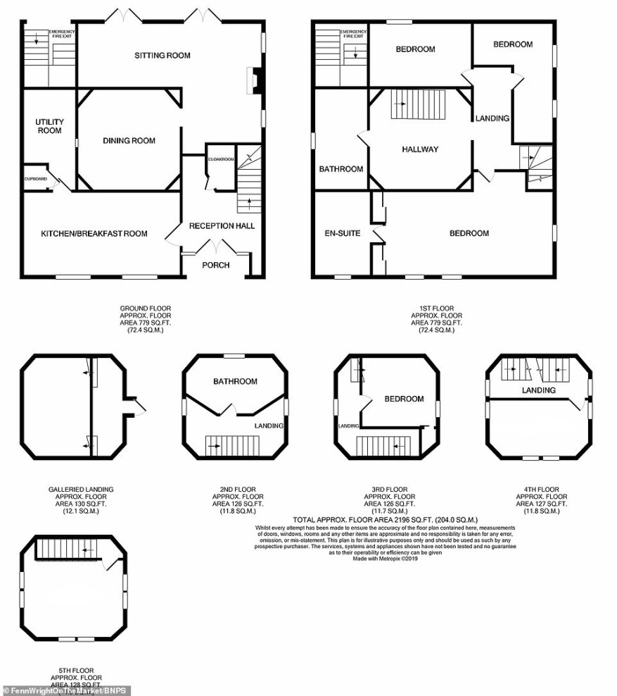 A floor plan of the property reveals just how many rooms and facilities are on offer across the home's different floors