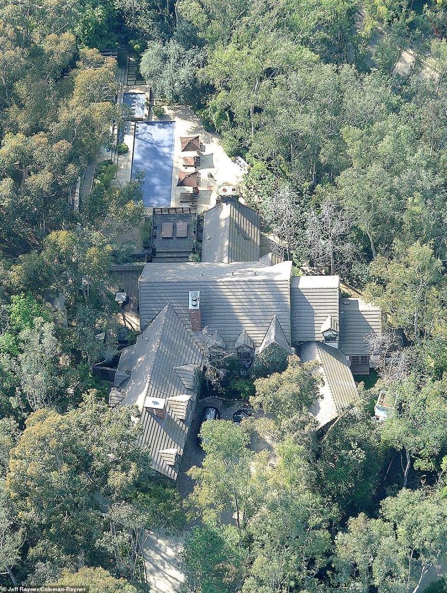 Aerial photos show the renovation is already underway for the star's home that he bought in 1995 from Fleetwood Mac singer Stevie Nicks for $2.2million