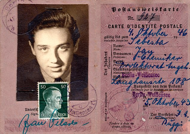 An ID card Ariana found as a girl in Caracas. Ariana's fatherassumed a fake identity — Jan Sebesta — and went to live in the very heart of Nazism's evil empire
