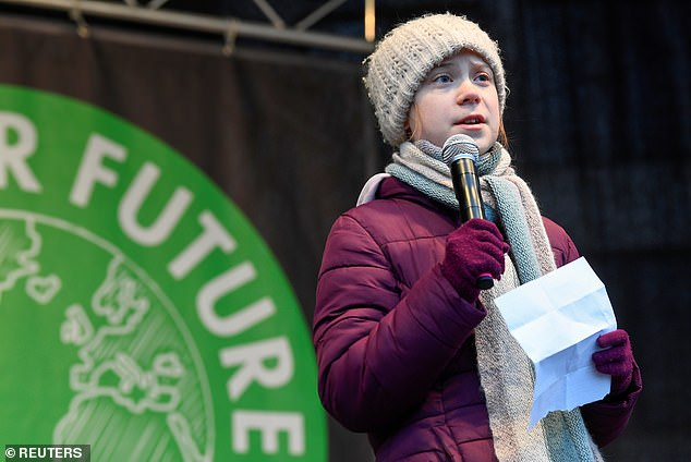 Two schools,Cathedral Choir and Cathedral Primary, have said they will be closed due to disruption caused by the protest (Greta is pictured addressing the crowd during aFridays for Future protest in Hamburg, Germany, last week)