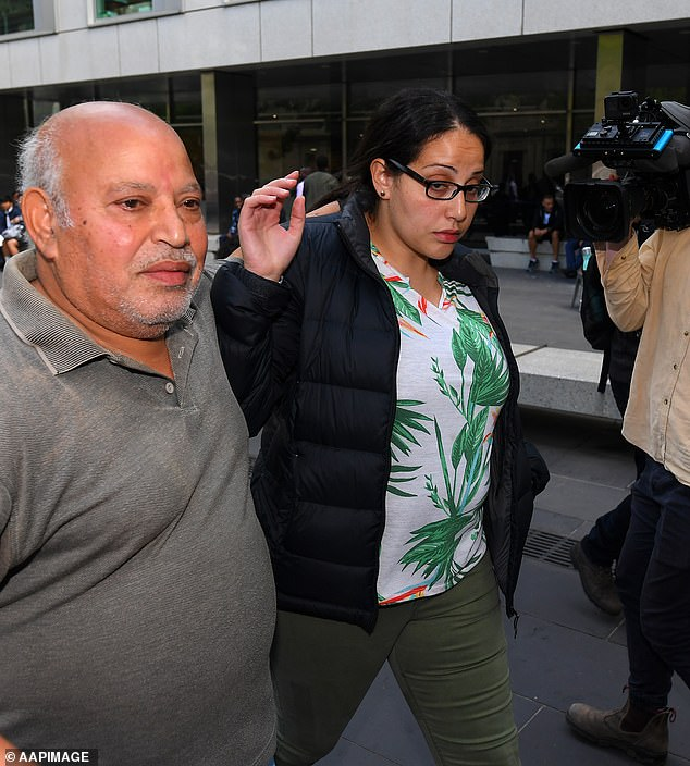 Lydia Abdelmalek (right), and her father leave the County Court  of Victoria last year