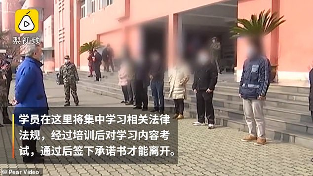The so-called students would need to pass exams on coronavirus regulations and sign an agreement letter before they are released from the education centre in Hubei Province, China