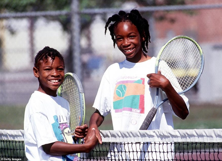 Sister act: Serena, left, and Venus Williams pictured shaking hands after a game 1991 in Compton, CA