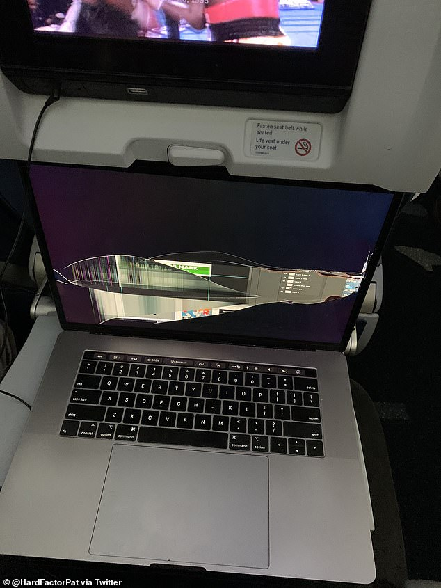 Pat Cassidy posted a photo on Twitter showing the cracked screen of his MacBook Pro