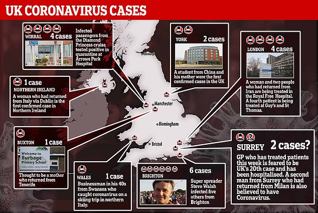 The UK's 20th coronavirus patient has been confirmed, marking the first case to have caught the infection on British soil