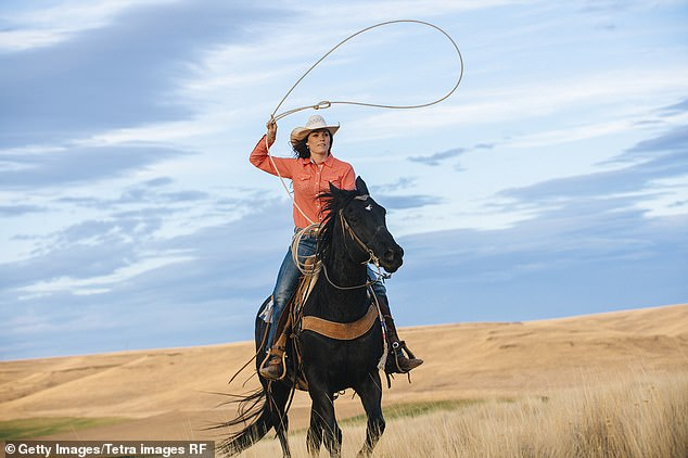 A horse rider with a lasso. Proper cowboys ride 'western style' with just one hand on the reins