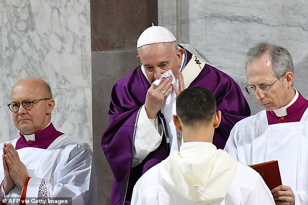 The 83-year-old, who lost part of a lung to a respiratory illness as a young man, has never cancelled so many official audiences or events in his seven-year papacy (he is pictured on February 26, where he was seen coughing)