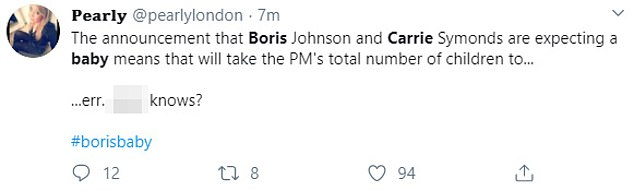There appears to be some uncertainty as to how many children Mr Johnson now has