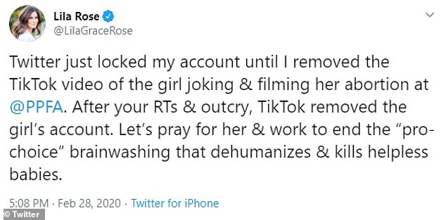 Lila Rose, president of the pro-life group Live Action, posted the video to Twitter before it was removed for violating the platform's rules