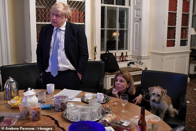 A NERVOUS WAIT: Concern etched on the faces of the couple – and Dilyn – as they awaited the Election results in Margaret Thatcher's old Downing Street study gave way to pure, unconstrained joy as the exit polls signalled a big Tory majority