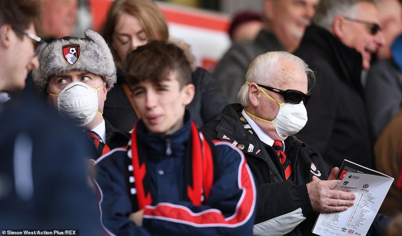Fans were blasted when they wore the same masks at another match earlier this month. Pictured: Fans atVitality Stadium, Bournemouth, yesterday