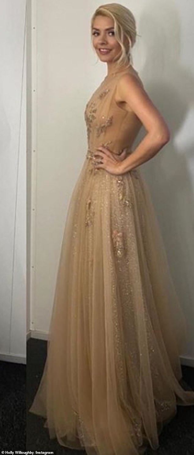 All that glitters: Taking on Instagram Sunday to present her outfit before the live show, the presenter, 39, looked simply radiant in the scintillating number of floor length