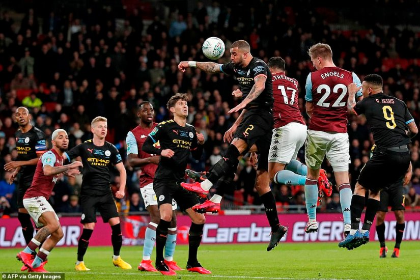 Bjorn Engels came so close to a dramatic equaliser for Aston Villa but his header was saved onto the post by Claudio Bravo