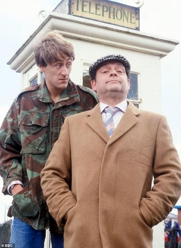 Trotting about: Only Fools And Horses aired on the BBC from 1981 to 2003 and produced seven series and various special episodes [Sir David is pictured during the show's run with co-starNicholas Lyndhurst]