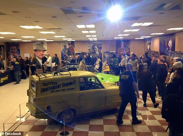 Trading places: As well as the set from the Trotters' flat, the trusty yellow Reliant Robin van from the show was also on site