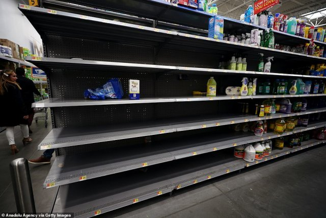 Empty shelves at a grocery store in New York. Shoppers have been stock-piling essential items over the weekend amid fears of the spreading virus