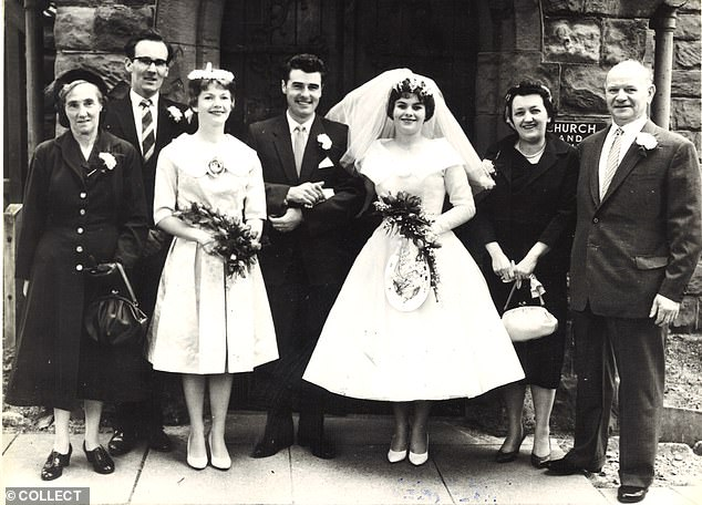 Picture shows Gill and Richard Moran on their wedding day in September 1959 (l-r) Mrs Annie Hawe (Richard's foster mother) Mr George Wheeler (best man) Barbara D'Arnault (Gill's sister) Richard, Gill. Amy Minton and Arthur Minton