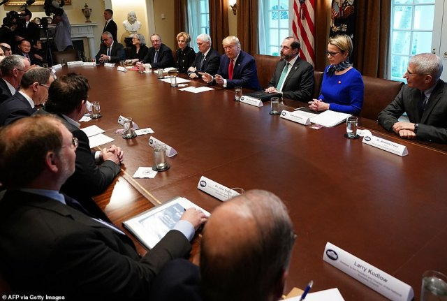 Cabinet room summit: Donald Trump met his coronavirus taskforce and pharmaceutical chiefs. Clockwise from bottom right. Larry Kudlow, chief economic advisor; Dr. John Shiver, of Sanofi; Leonard Schleifer, CEO of Regeneron Pharmaceuticals;Stéphane Bancel, CEO of Moderna;Daniel O'Day, chairman and CEO of Gilead. Far side of table from left: Paul Stoffels, chief scientific officer, Johnson & Johnson; Dr. Anne Schchat, DCD deputy director; Stanley Erck, CEO of Novorax; Debbie Brix, White House coronavirus taskforce response coordinator; Mike Pence; Donald Trump; Alex Azar, HHS Secretary; Emma Walmsley, CEO of GlaxoSmithKline; Dr. Anthony Fauci,director of the National Institute of Allergy and Infectious Diseases.