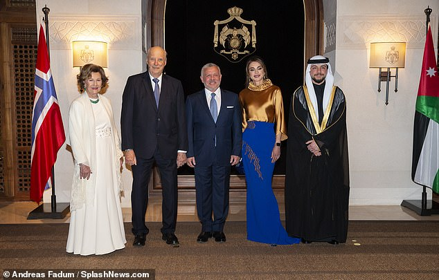 King Harald and Queen Sonja are expected to conclude their visit to Jordan on 4th March. Pictured:Queen Sonja and King Harald with King Abdullah II, Queen Rania and Crown Prince Al Hussein bin Abdullah II