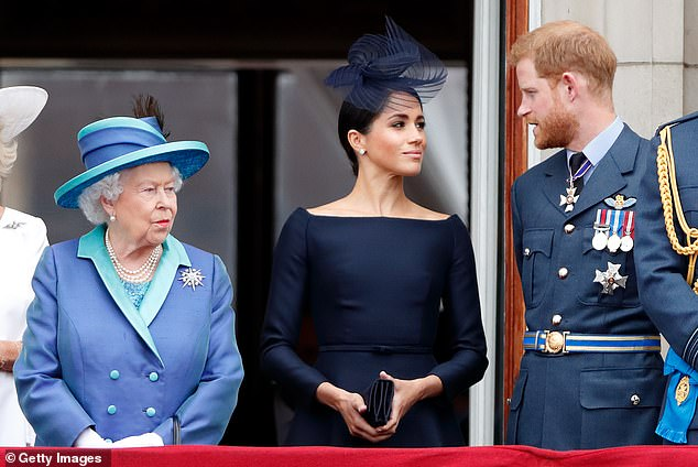 The alleged meeting comes after Harry and Meghan's final official engagement as royals was confirmed on Sunday (Pictured: the Duke and Duchess of Sussex with the Queen)