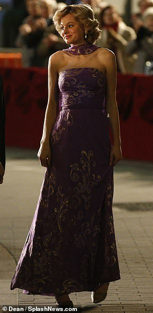 Pretty in purple: The gown was reminiscent of a style which the princess favoured