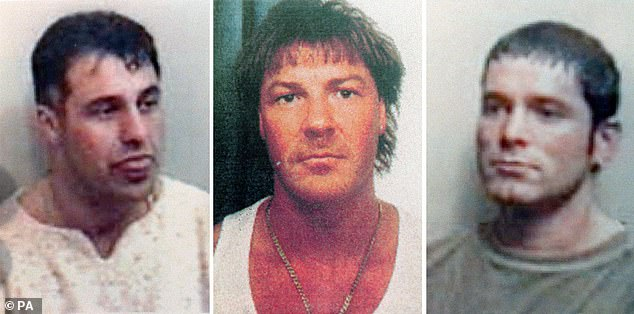 Patrick Tate, Anthony Tucker and Craig Rolfe (from left to right)were all found shot dead in a Range Rover on an isolated farm track at Rettendon, Essex in December 1995