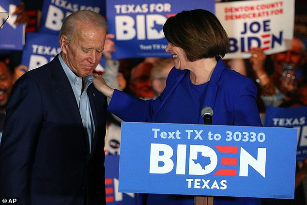Amy Klobuchar joined Joe Biden at a rally in Dallas on Monday night to endorse his campaign