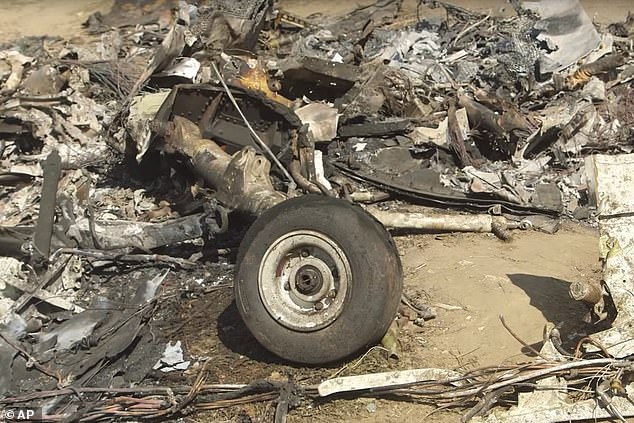 A wheel can be seen in the wreckage of the helicopter crash that claimed NBA legend Kobe Bryant, his daugher Gianna and seven others on January 26