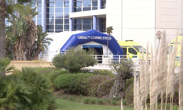 Gibraltar has today confirmed its first coronavirus case. Pictured, the hospital where the patient is thought to have been taken to
