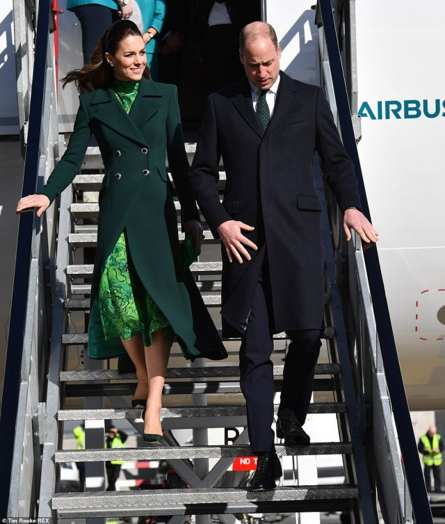 Irish eyes were smiling when the Duchess arrived in Dublin in a striking green outfit that paid tribute to the Emerald Isle