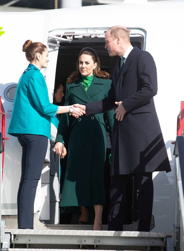 Following their arrival at Dublin Airport (pictured) William and Kate are expected to sample a pint of Guinness later when they meet leading figures from Irish life