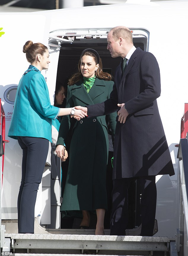 William and Kate are representing the royal family uin Ireland over the next three days - but chose not to wear gloves as they landed in Dublin today