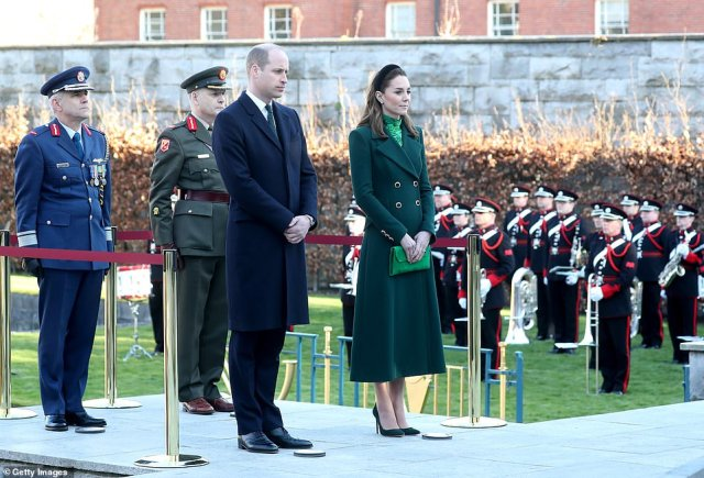 Duke of Cambridge and Catherine, Duchess of Cambridge attend a commemorative wreath laying ceremony in the Garden of Remembrance at Aras an Uachtarain on day one of their visit to Ireland
