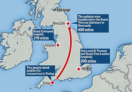 Two cases in Devon were transferred to the furthest possible hospital some 400 miles away in Newcastle