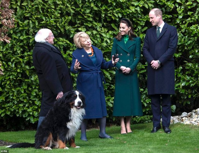The royal couple met Ireland's President Michael D. Higgins (left with his wife) and Prime Minister Leo Varadkar and will attend a reception at the Guinness brewery, the country's top tourist attraction